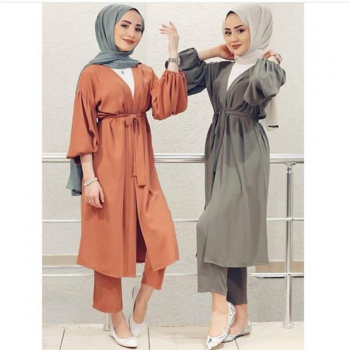 baju setelan celana hijab kombinasi outer