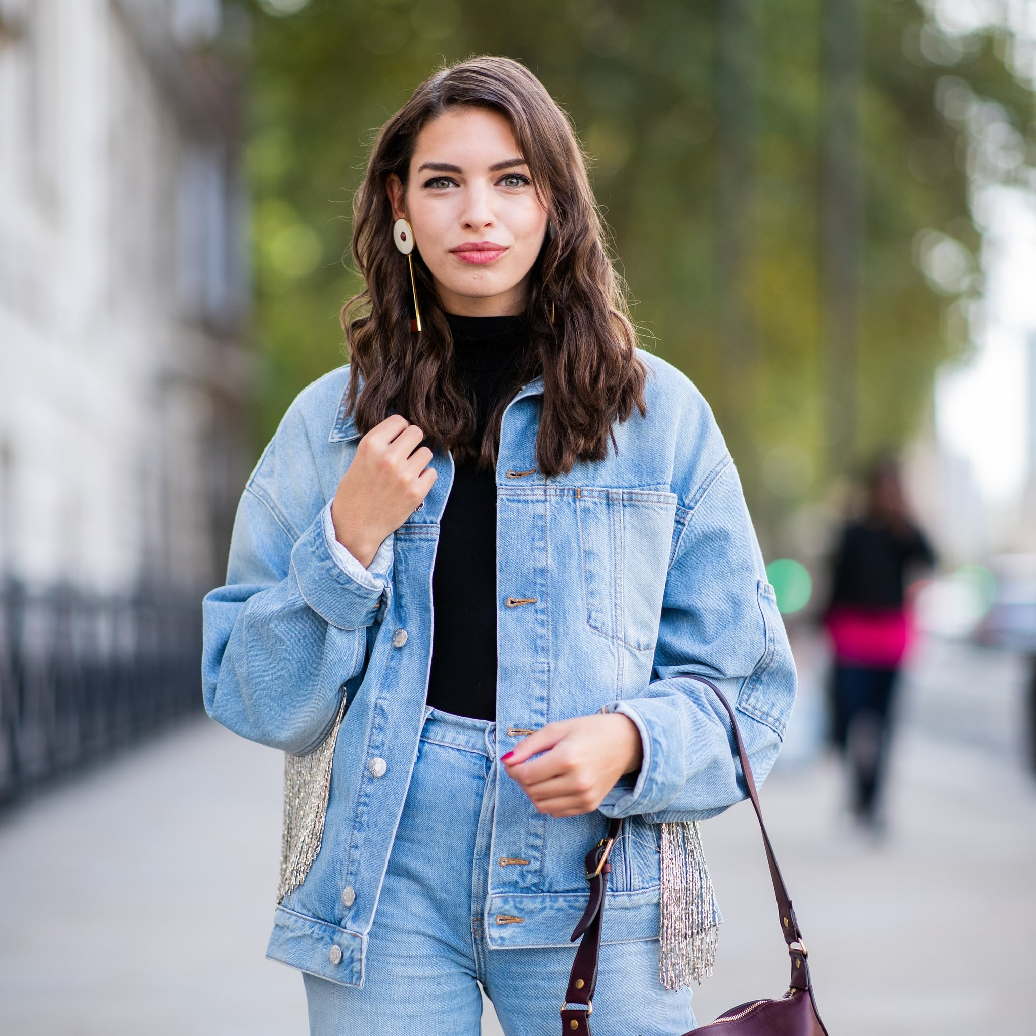 cool denim on denim street style and outfit ideas popsugar