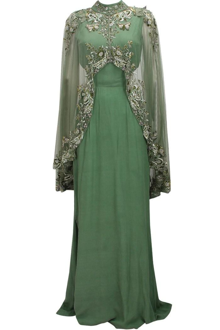 Gaun kombinasi brokat warna hijau