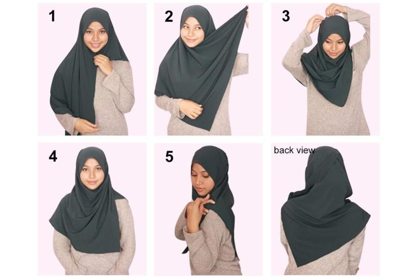 Hijab syar'i tutorial dengan shawl labuh