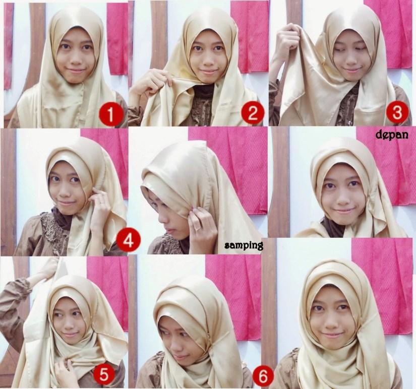 tutorial hijab pashmina satin dengan mudah