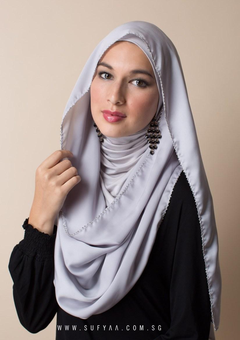 tutorial hijab pashmina satin untuk hari raya