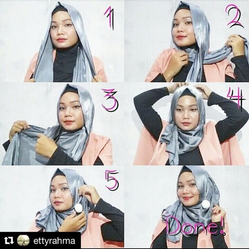 tutorial hijab pashmina satin untuk kondangan
