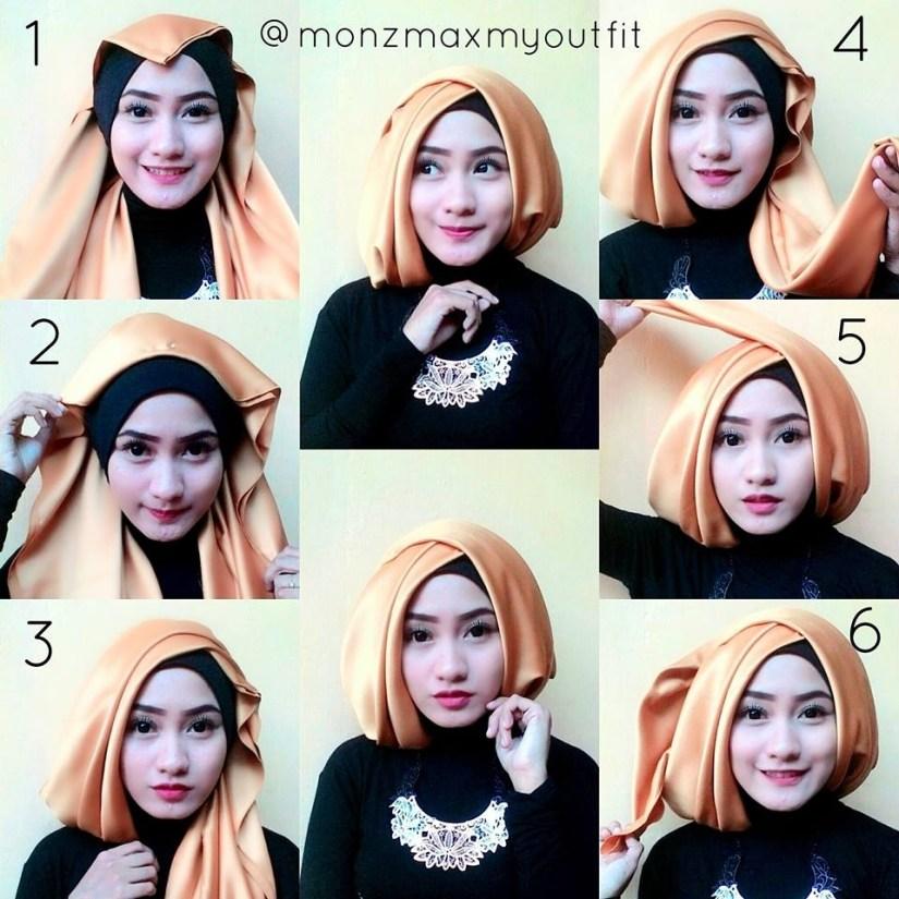 tutorial hijab pashmina satin untuk wisuda