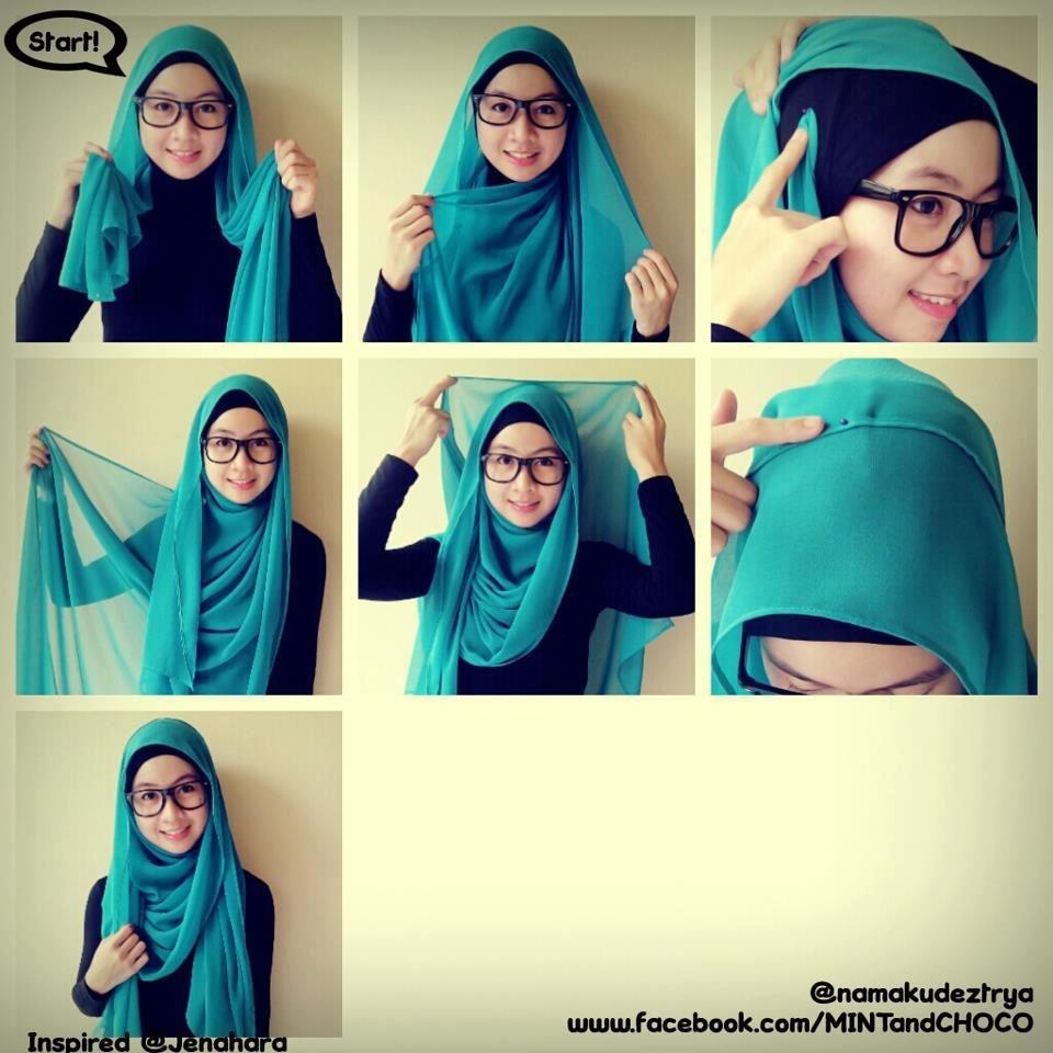 Tutorial hijab pashmina simple dengan bahan simple