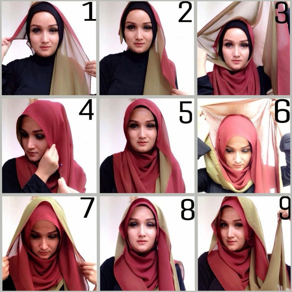 tutorial hijab pashmina simple kombinasi dua jilbab