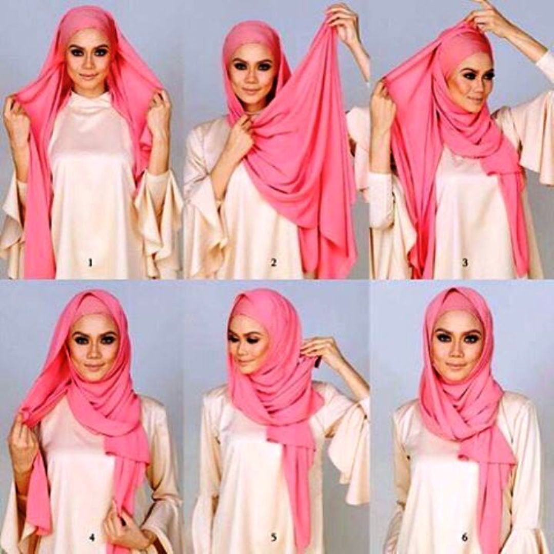 tutorial hijab pashmina simple yang elegan