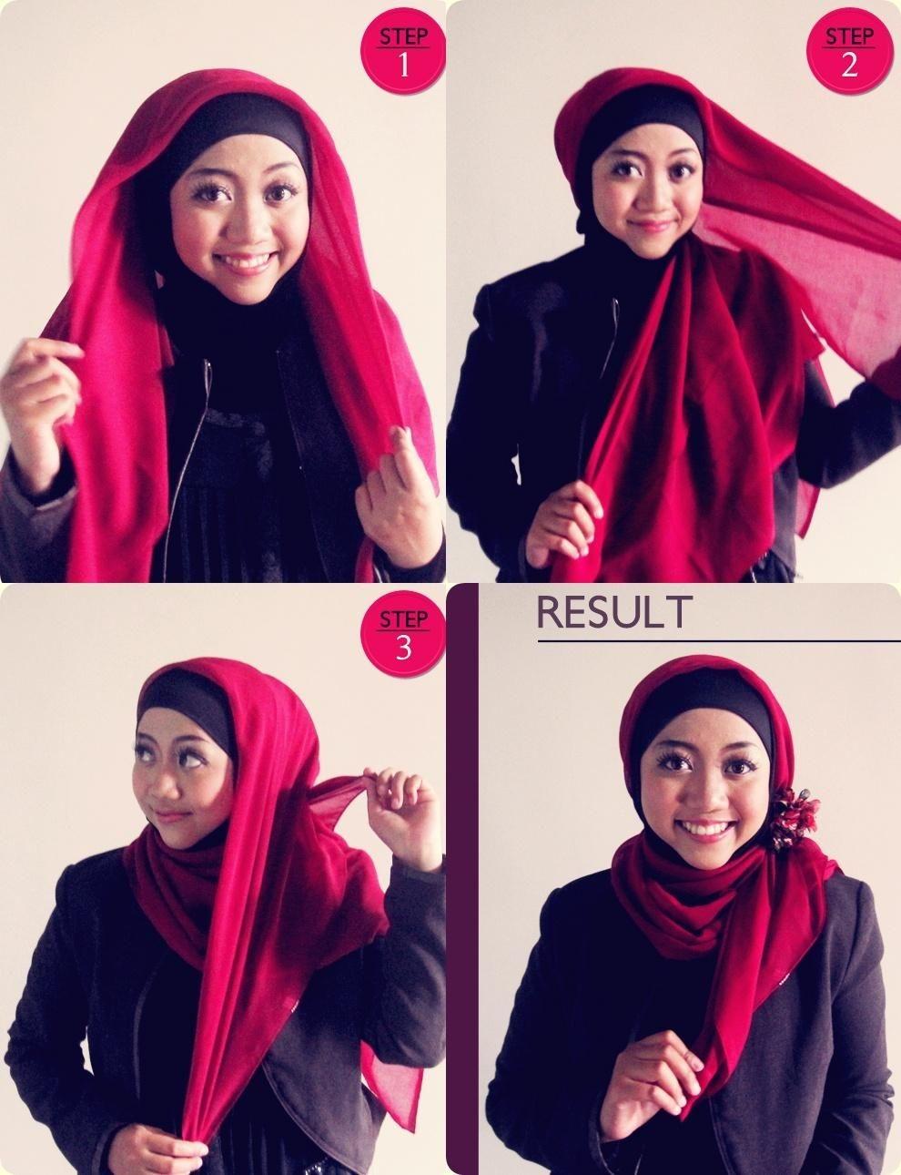 tutorial hijab segi empat 2 warna