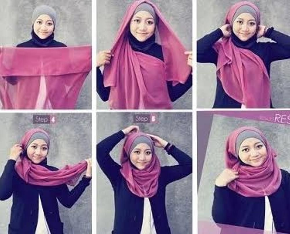 tutorial hijab segi empat pipi chubby