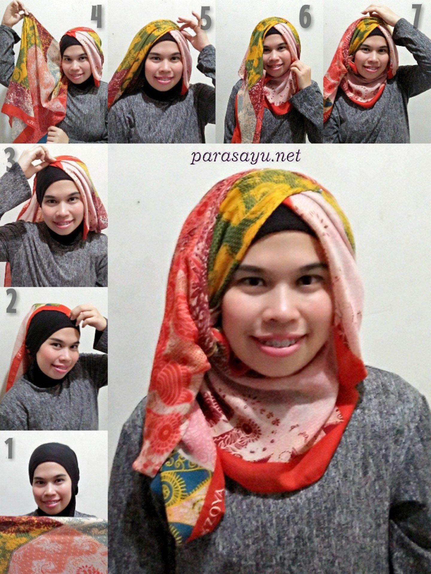 tutorial hijab segi empat praktis untuk pesta