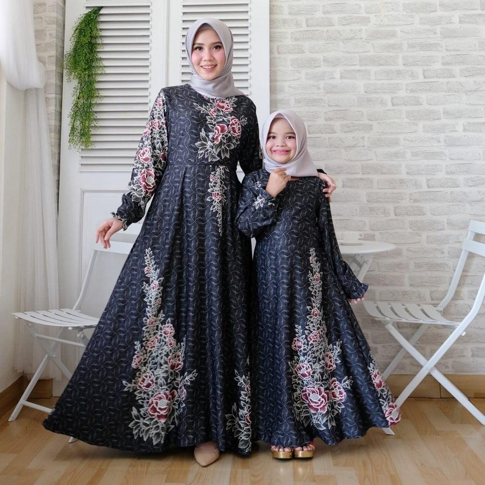 gambar model baju gamis batik couple ibu dan anak