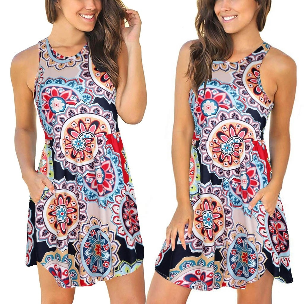 2019 summer casual dress womens sleeveless with pockets