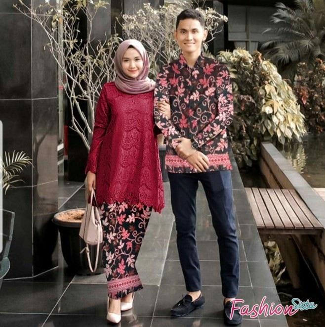 9 model baju batik couple modern kombinasi terbaru paling