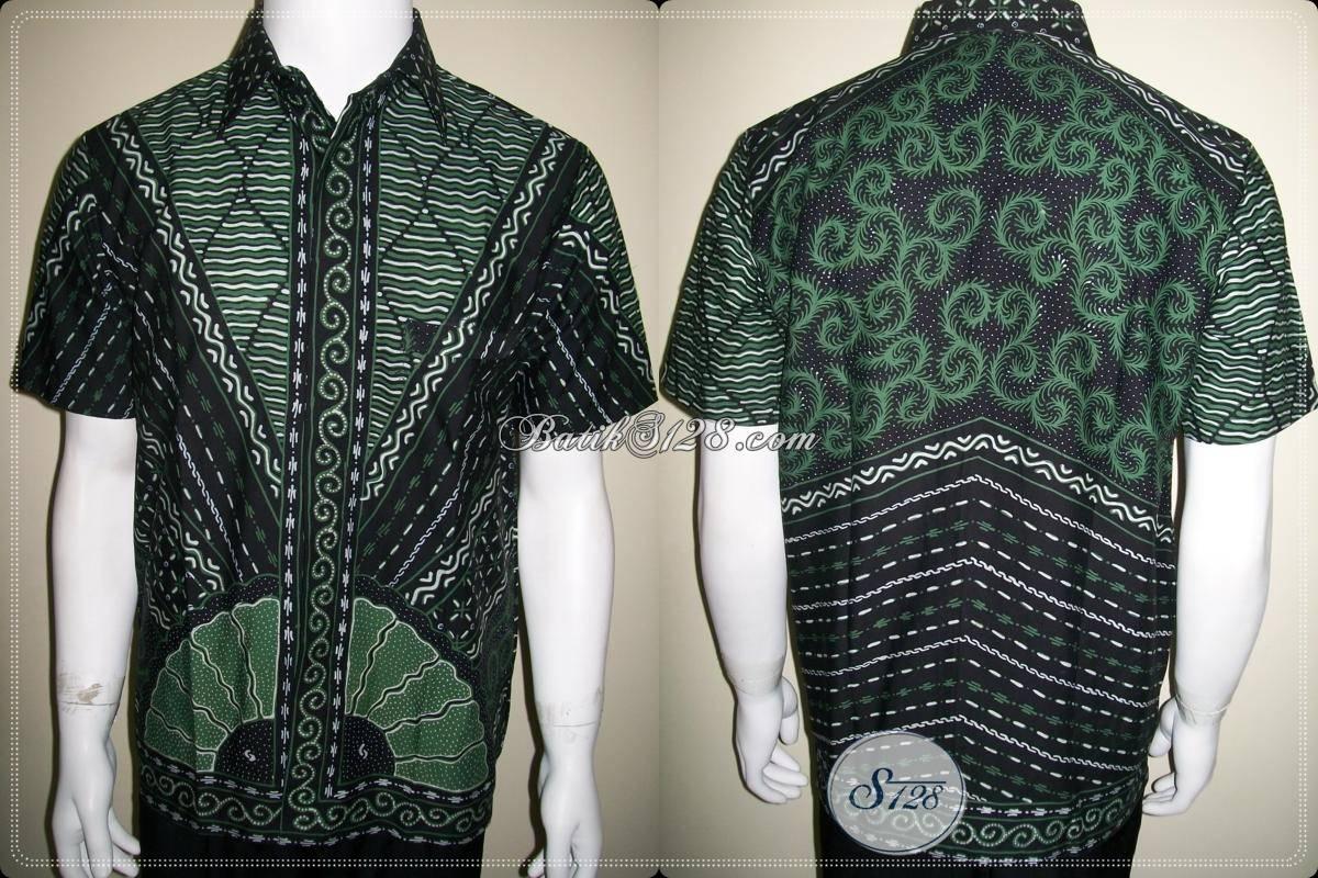 baju batik pria warna hijau hitam keren sebagai batik