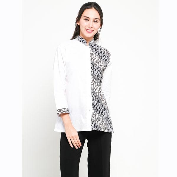 baju blus kerja atasan wanita warna putih kombinasi batik