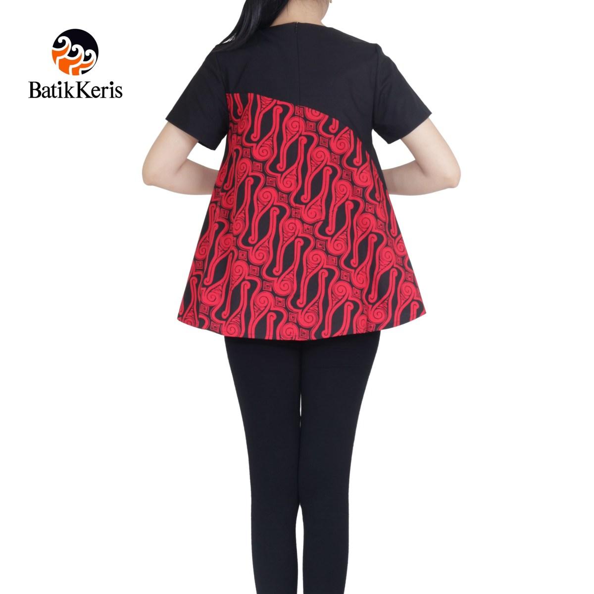 blouse lengan pendek motif parang tlale kombinasi polos