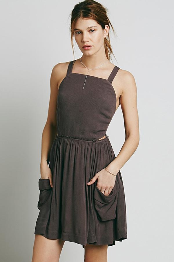 coffee raw hem crossed open back pleated casual dress