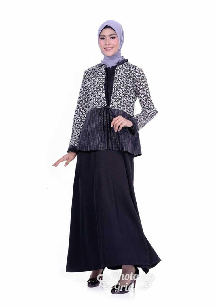 contoh model gamis batik kombinasi modern eza batik