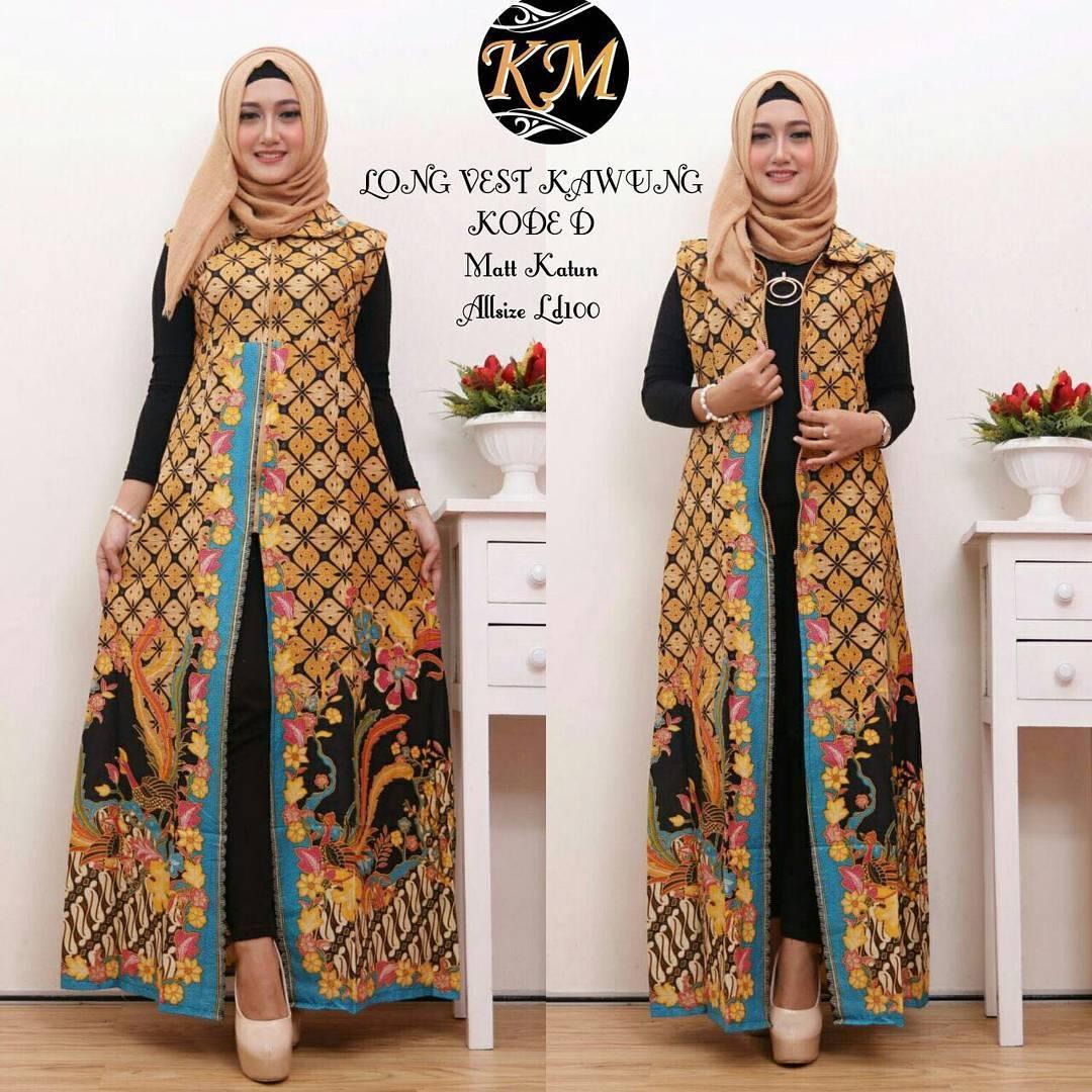desain baju batik dress panjang modern klopdesain