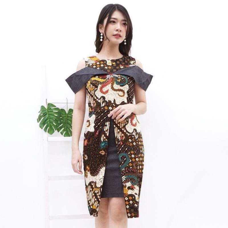 dress batik modern dress brukat blouse wanita sevn861