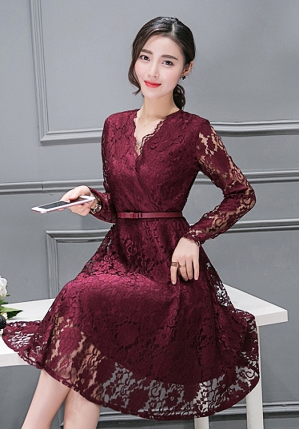 dress brokat lengan panjang model v neck warna marun ca991