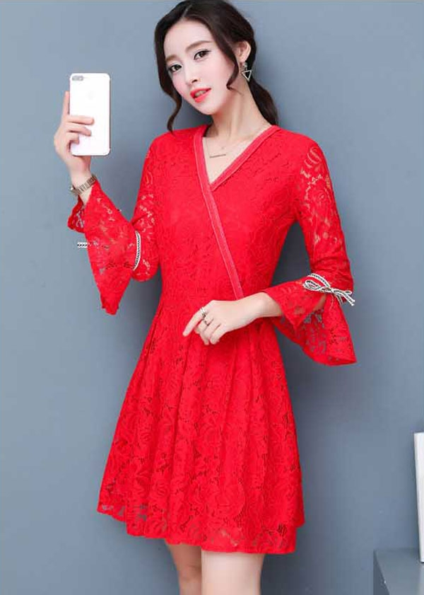 dress brokat warna merah korea model lengan pita da804