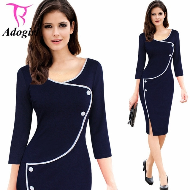 elegant slim office dress o neck solid bodycon women