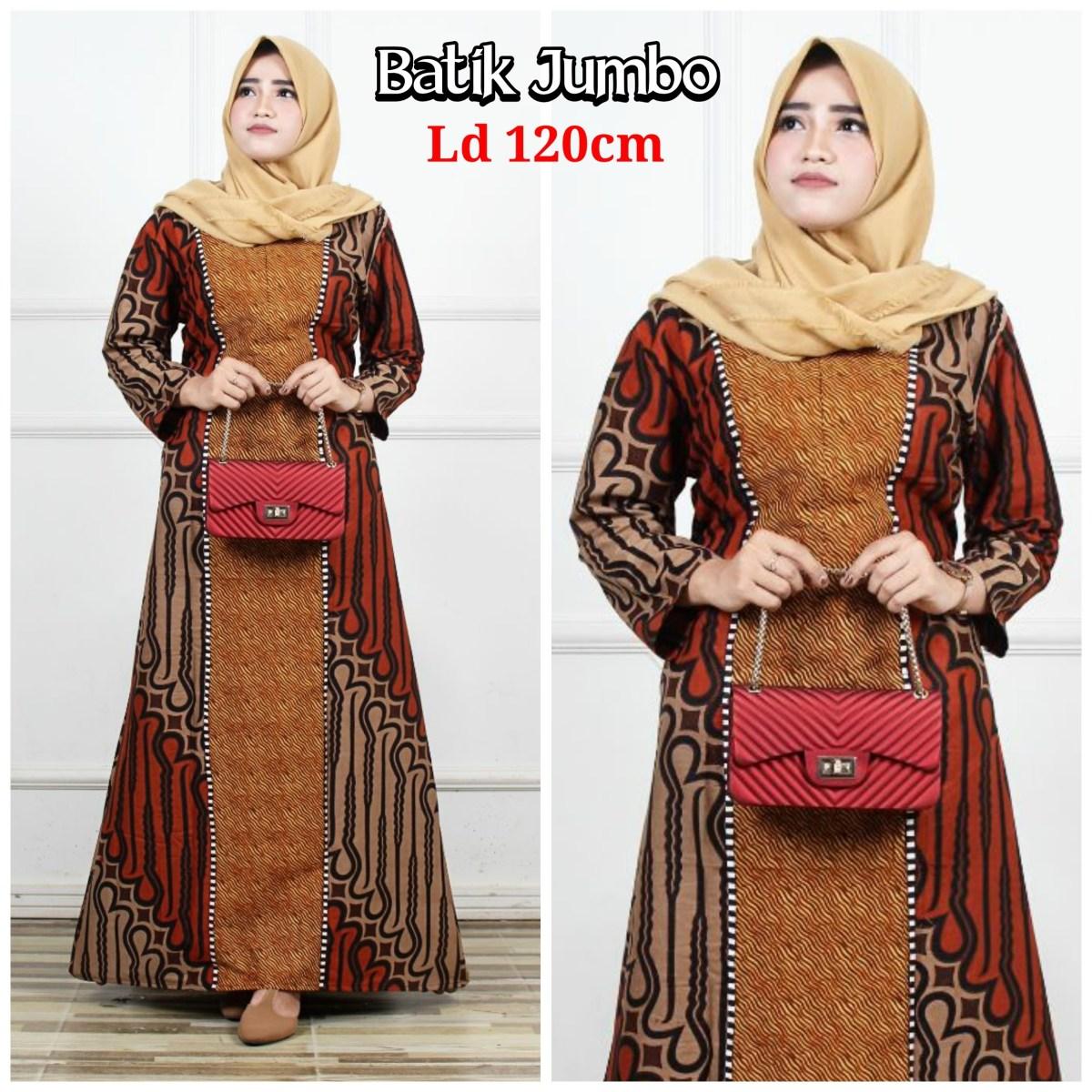 gambar baju gamis batik kombinasi modern retorika