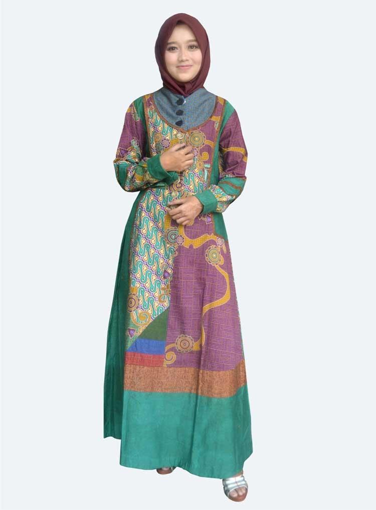 gamis batik modern kombinasi nusagates