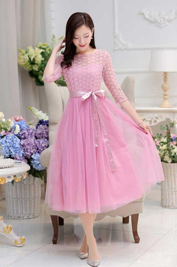 gaun dress panjang korea cantik untuk pesta a2921