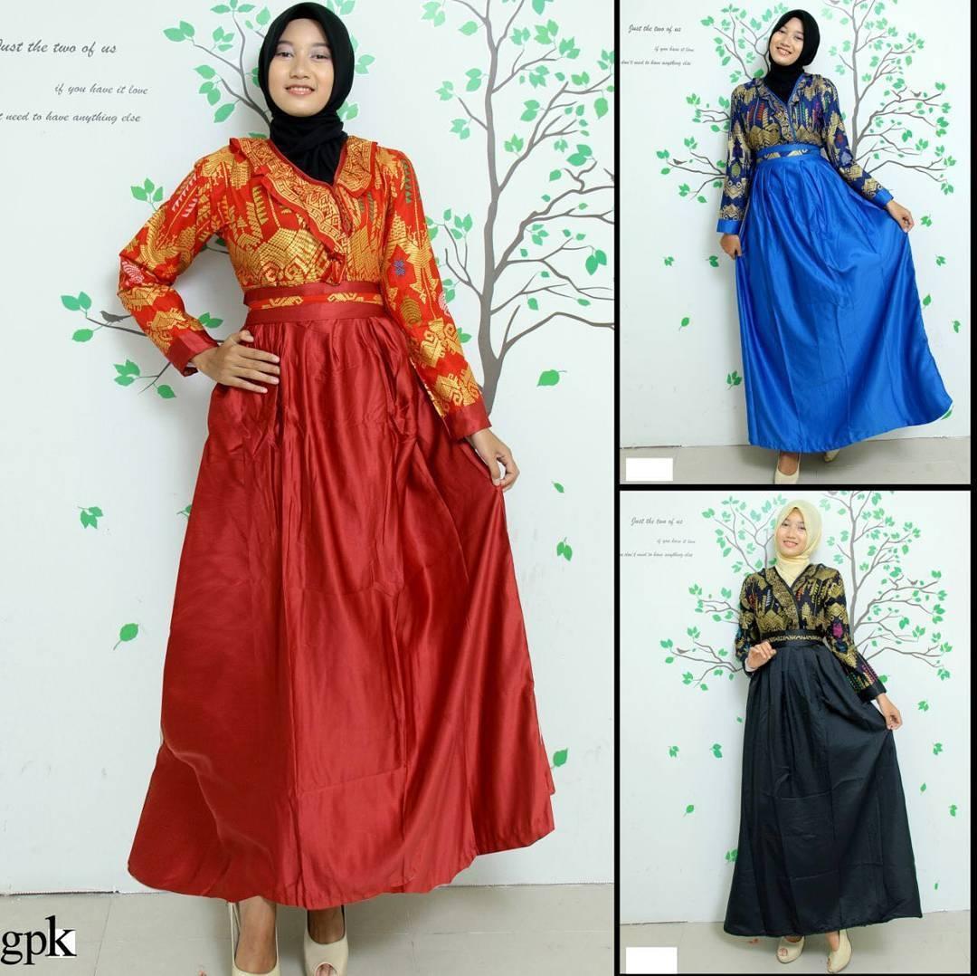 kumpulan model gamis batik kombinasi modern simple