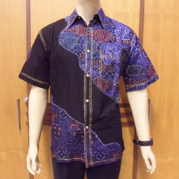 model baju batik pria lengan panjang modern modis terbaru