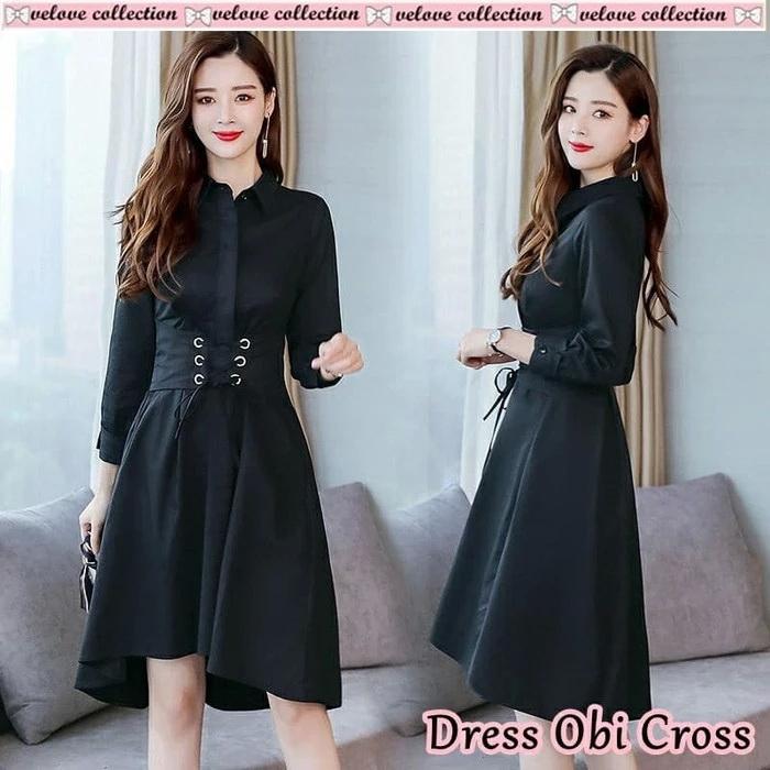 model baju dress pendek obi lengan panjang