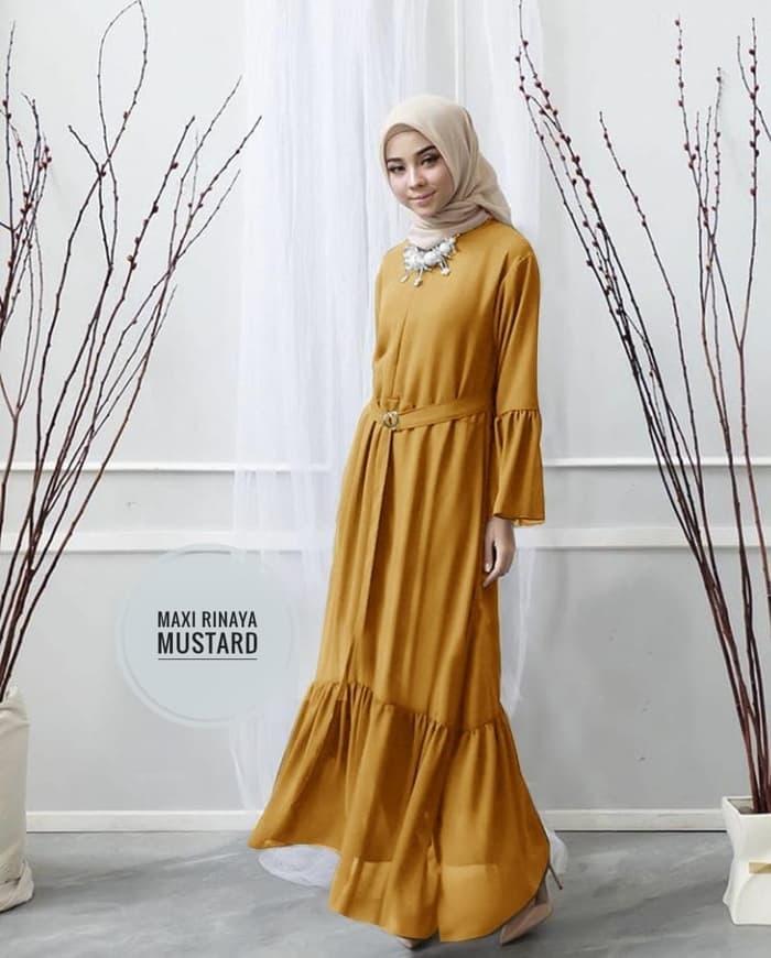 model baju gamis simple polos modern terbaru ryn fashion