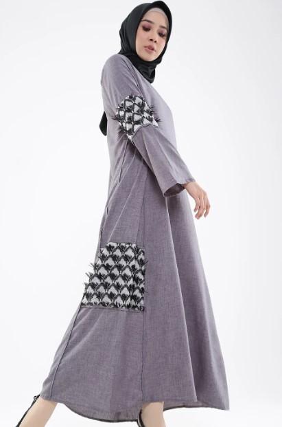 model gamis batik kombinasi modern ragam muslim
