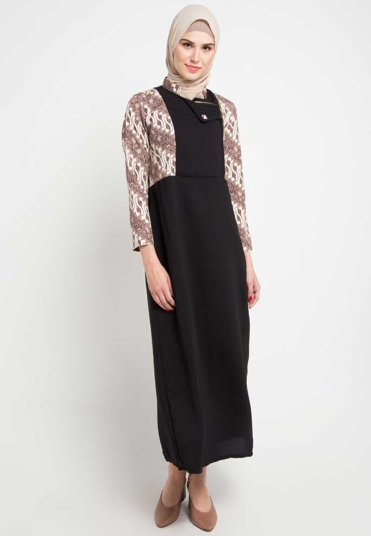 model gamis batik kombinasi wolfis hijab salwa