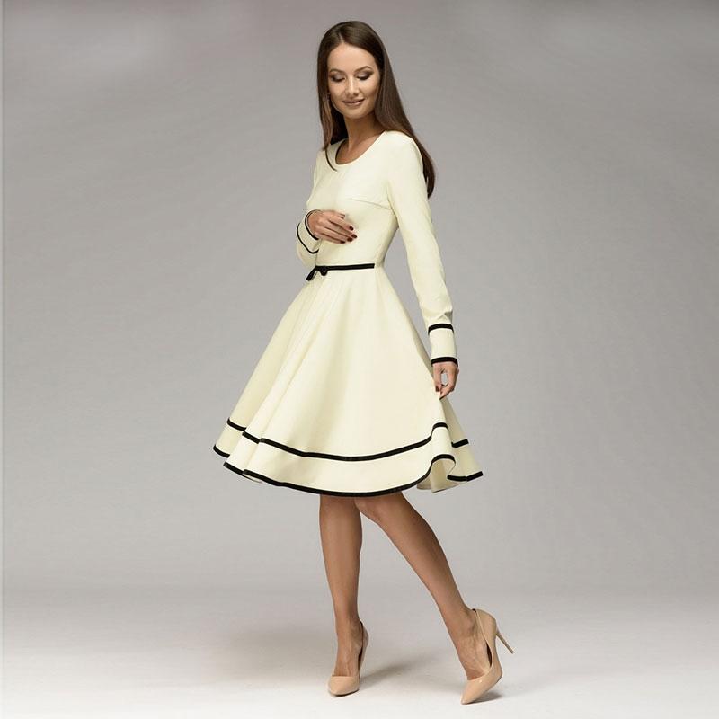 simple but elegant a line dress o neck long sleeve knee