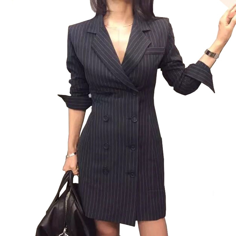 spring autumn blazer dress office women sexy double