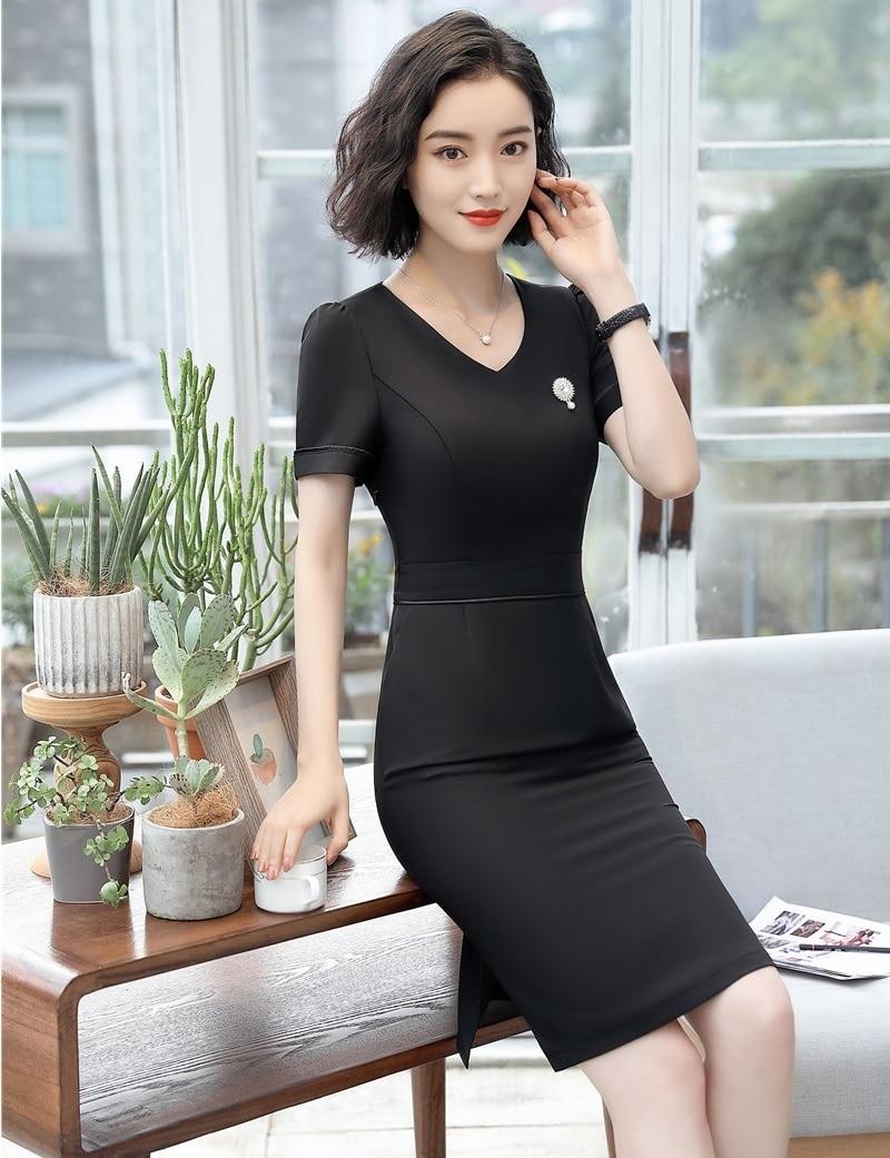 summer fashion women dresses black slim office ladies work