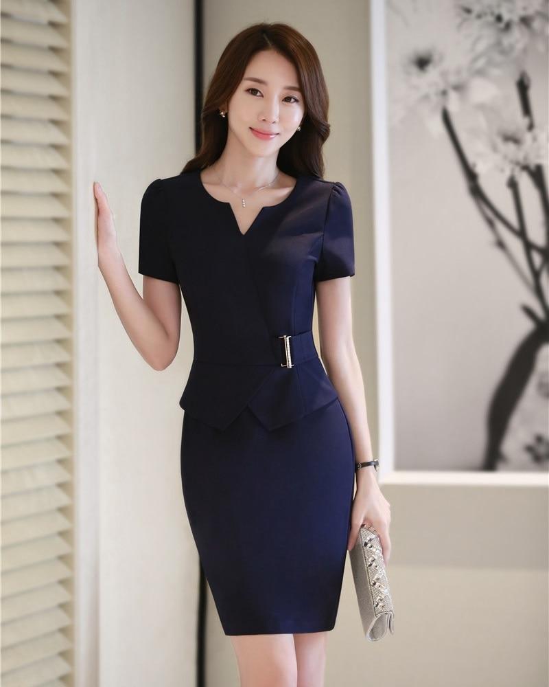 summer women dresses short sleeve ladies work wear dress