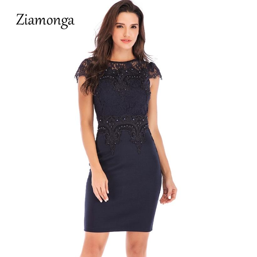 ziamonga women business office work embroidery lace dress