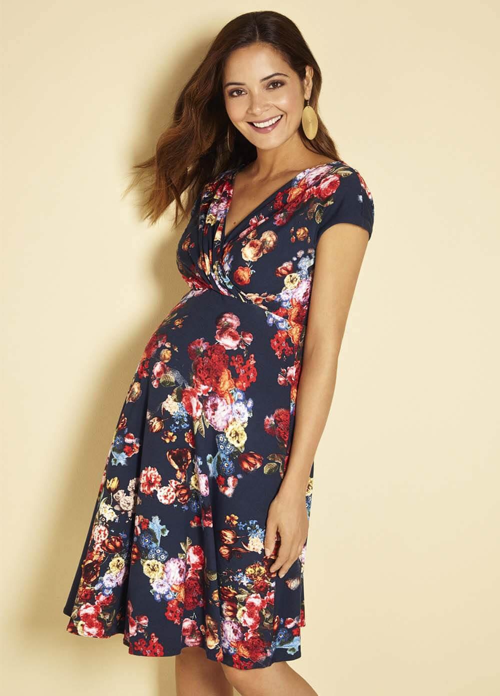 alessandra floral maternity dress in midnight garden