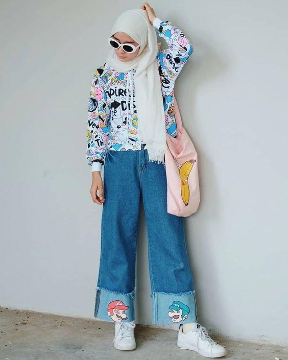 buat pengganti celana jeans ini 9 ide ootd hijab pakai