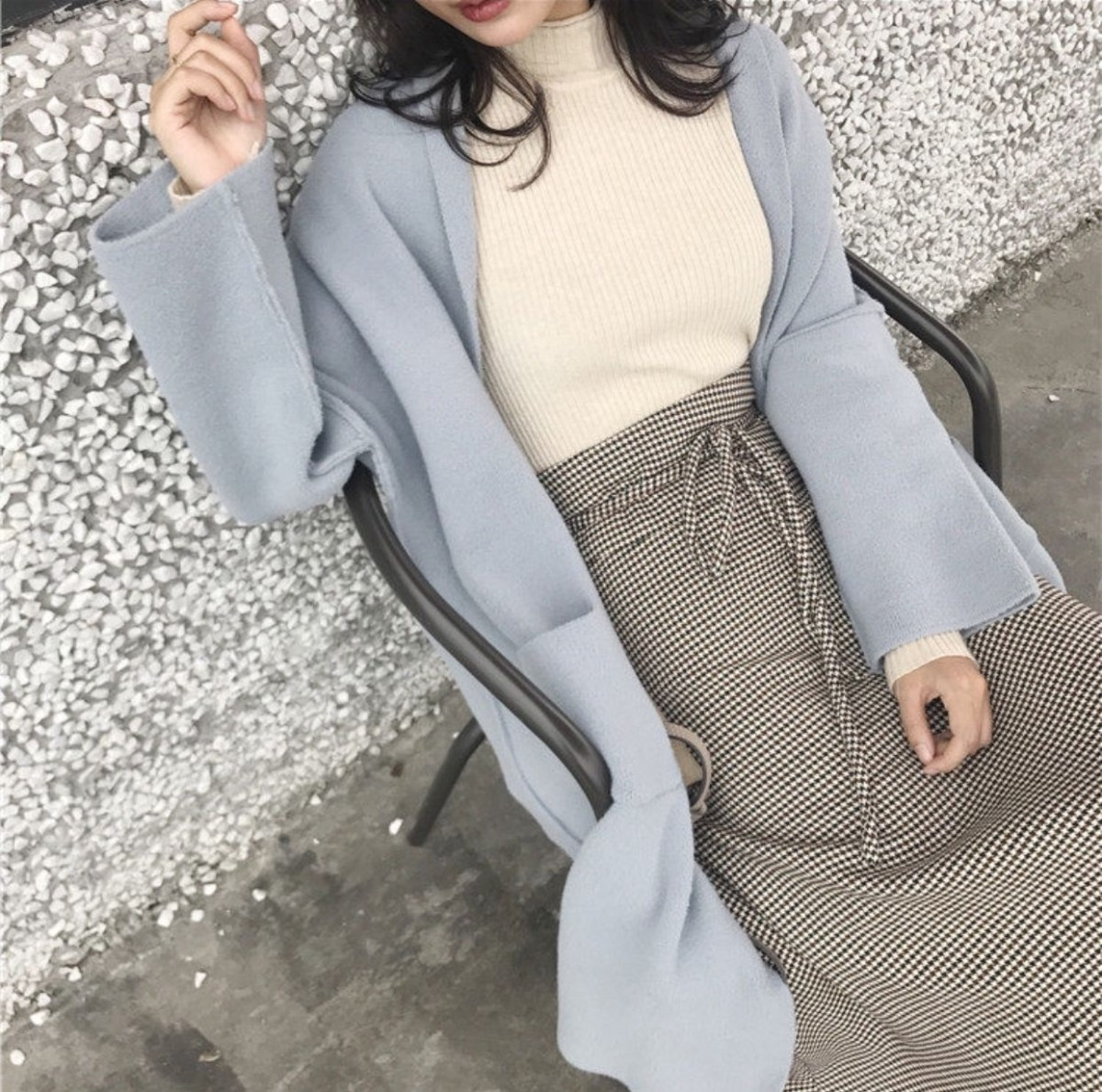 casual winter sweater and skirt asian fashion casual