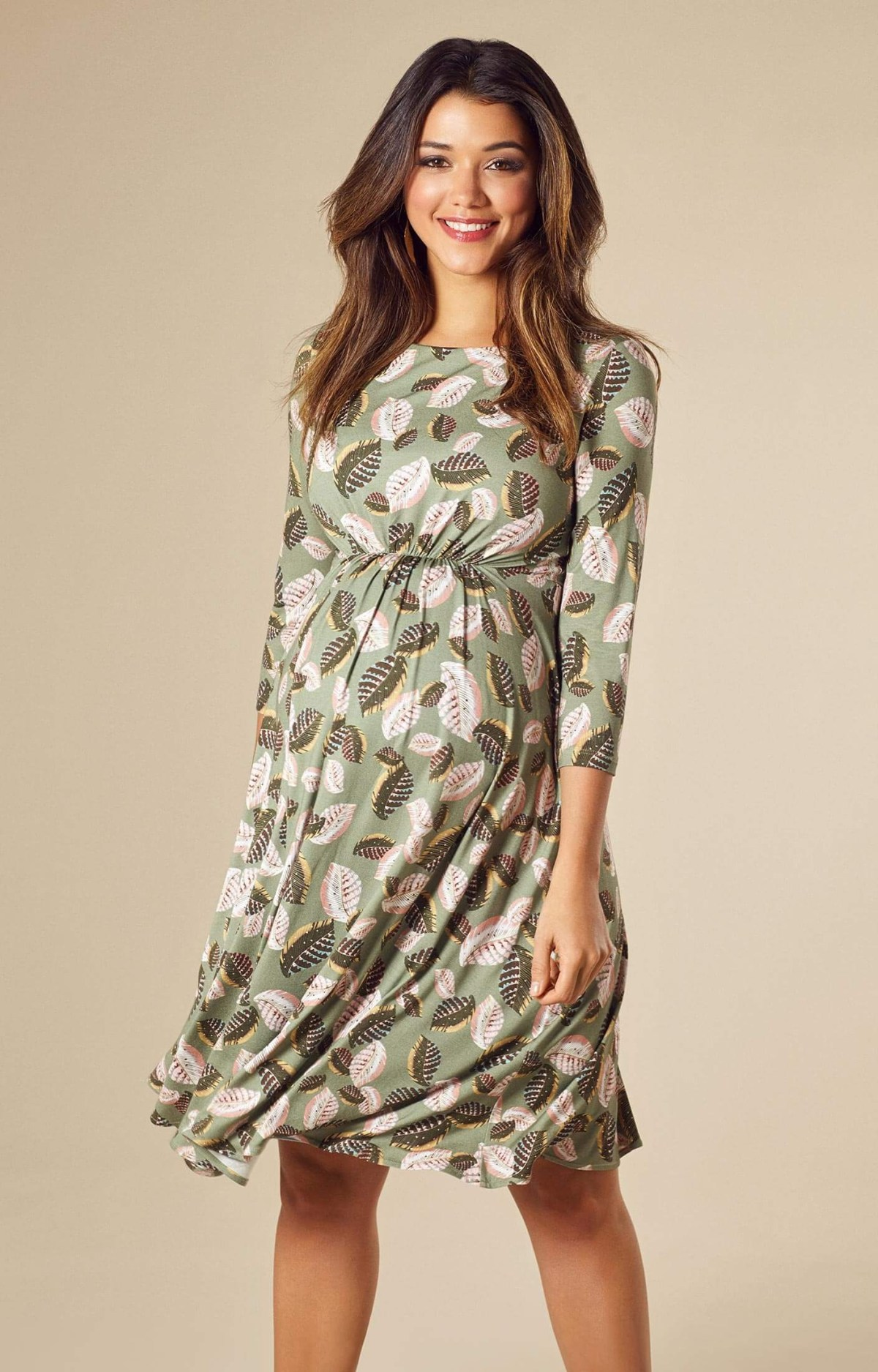cathy maternity dress short forest feathers maternity