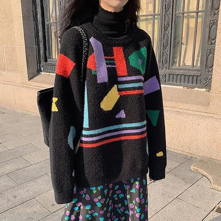 contrast abstract print oversized knit sweater print