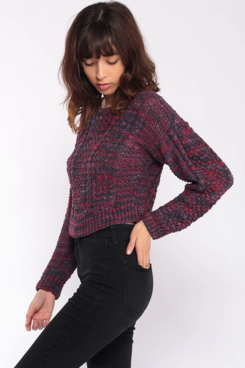 cropped sweater 90s cable knit purple grey 1990s sweater