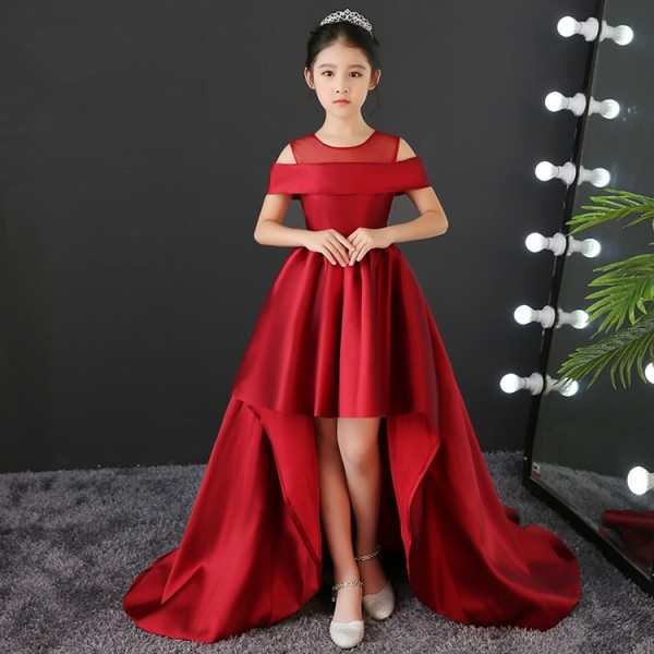 kids model show pianist stage performance long dresses