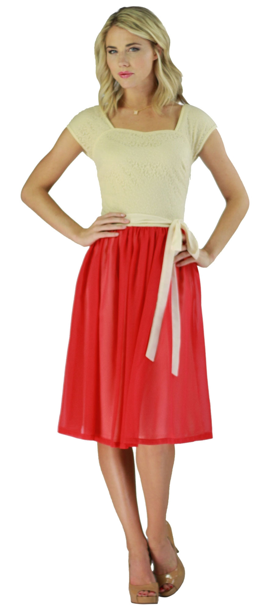 lacy chiffon modest semi formal dress in cream and red
