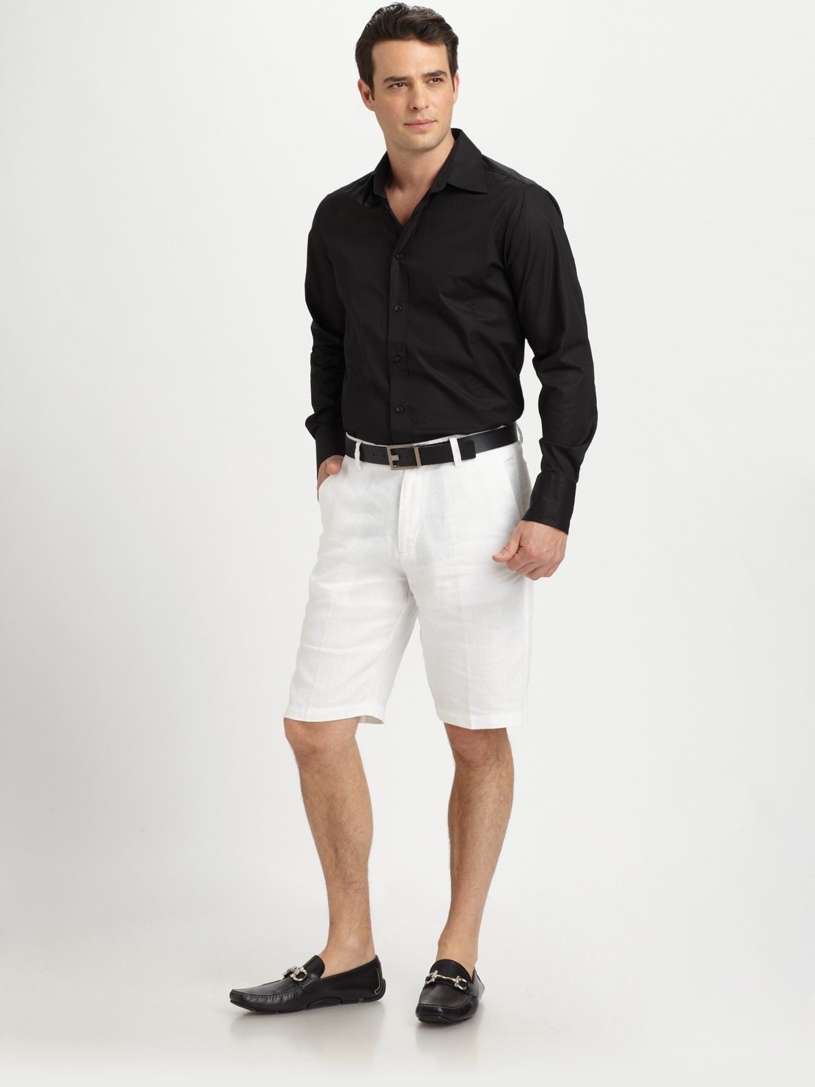 lyst saks fifth avenue white linen shorts in white for men